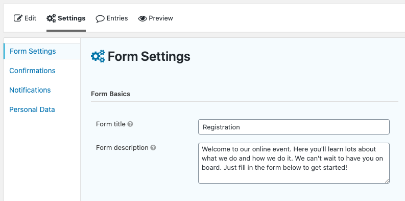 Form settings page