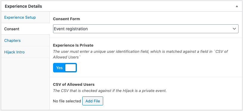private Hijack experience settings