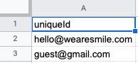uniqueId column in a CSV file