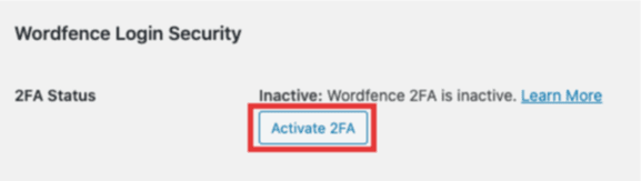 activate 2FA button on user profile page