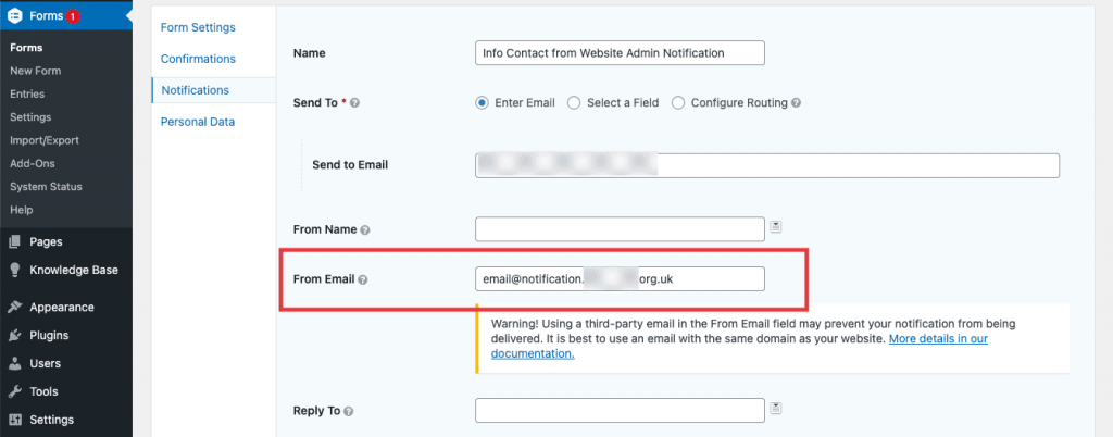'From Email' field in Gravity Forms notification settings