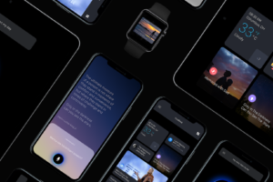 A collection of phones with various screens