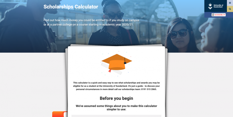 Sunderland scholarships calculator featured image