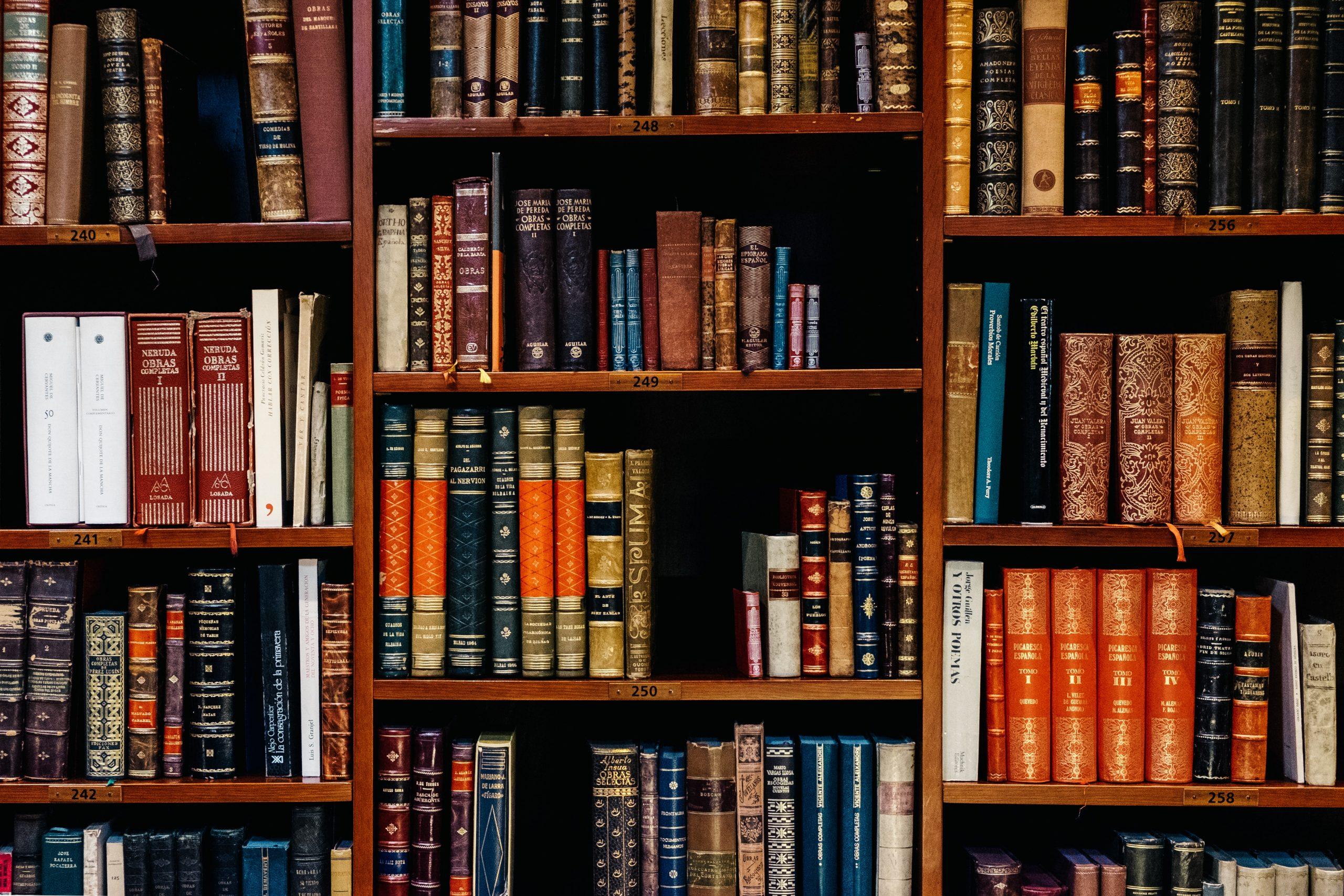 A bookshelf full of leather-bound books