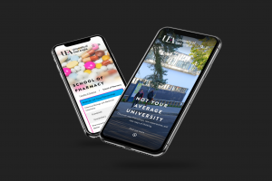Mobile mockups of the UEA website