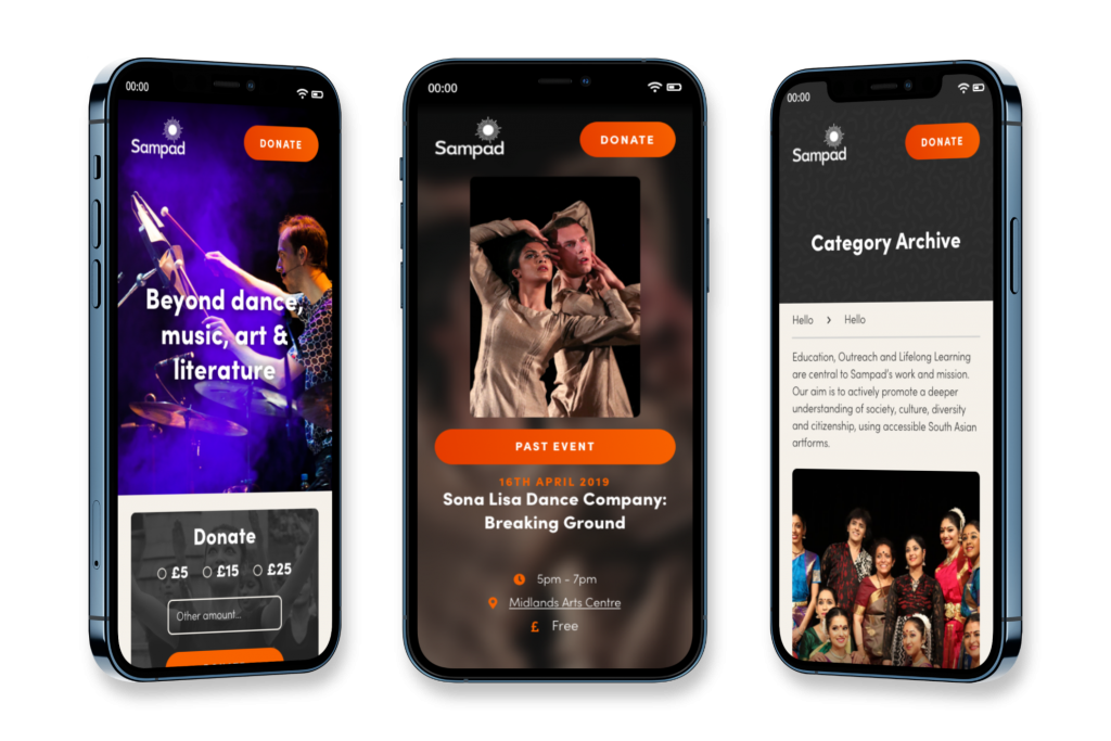 Mobile mockups of the Sampad Arts website
