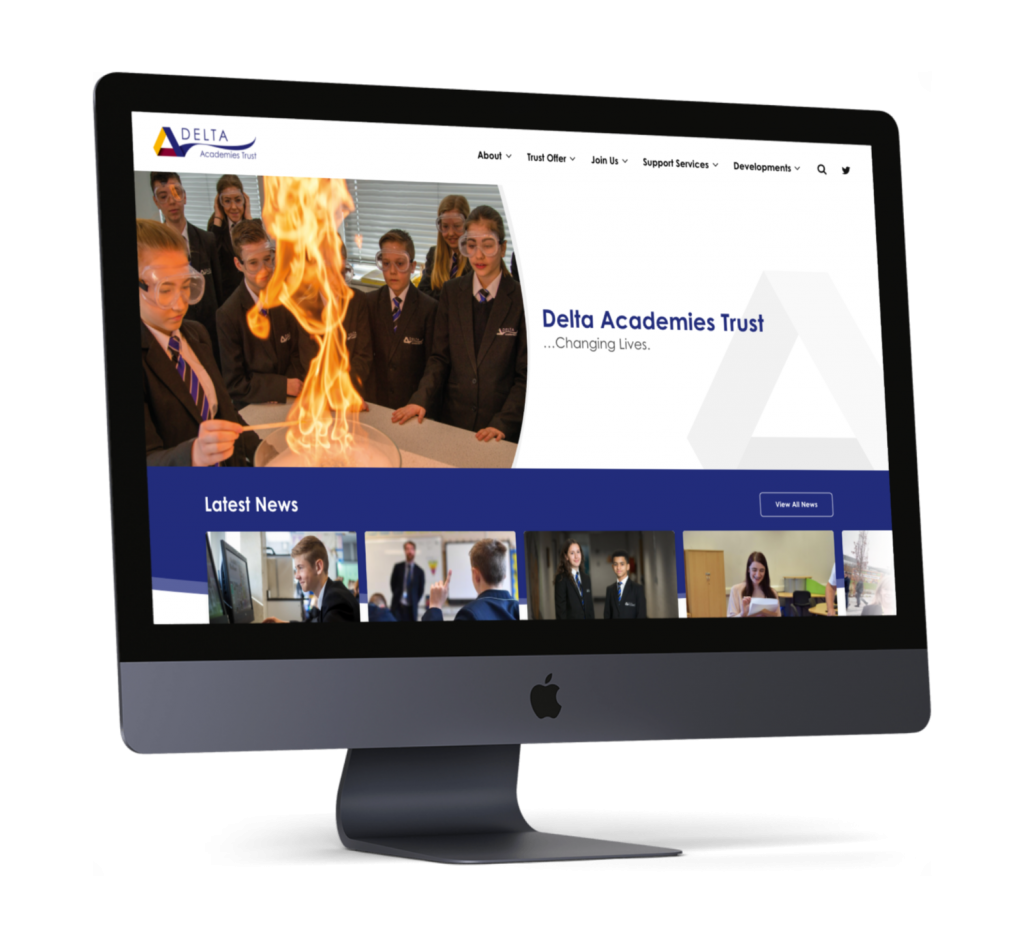 A mockup of the Delta Trust homepage