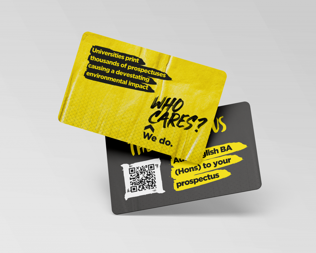 Early mockups of a prospectus idea involving cards and a QR code