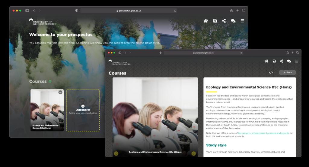 The desktop view of the University of Gloucestershire Digital Prospectus