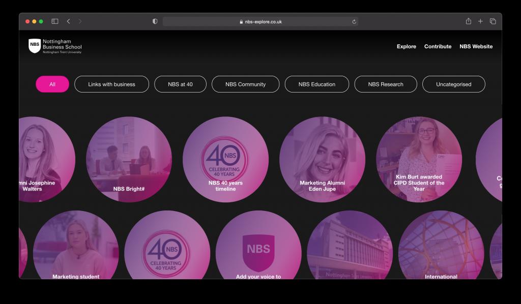 Screenshot of the NTU NBS Platform