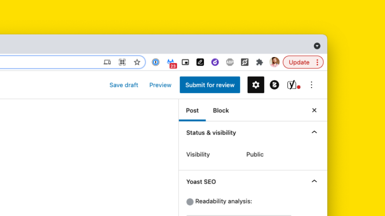 A screnshot showing the submit for review button in WordPress