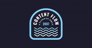Image of the Content Flow plugin patch by SMILE. A blue crest shape with the title and wave shapes to demonstrate flow
