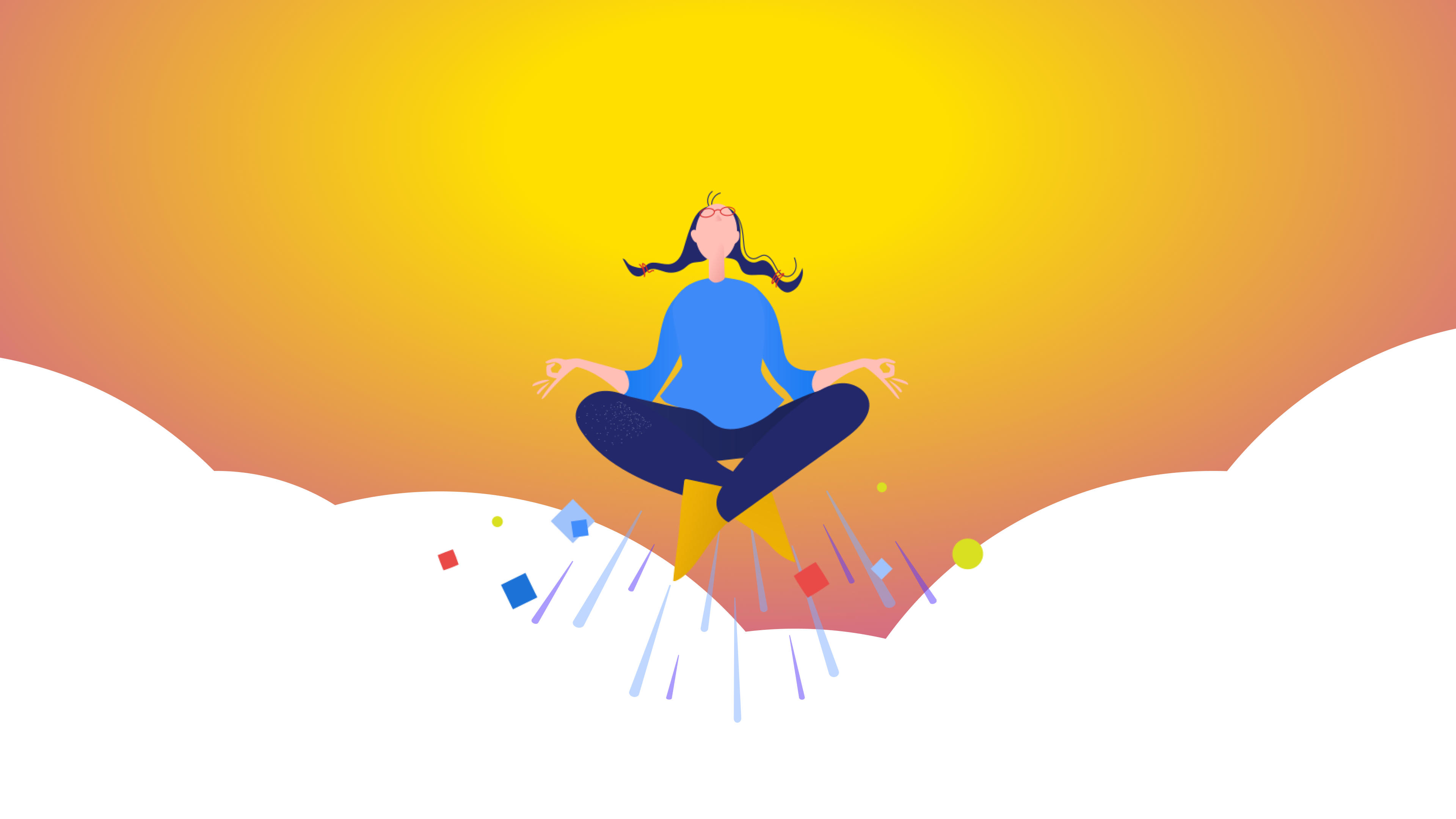 A person meditating above the clouds